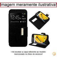 Bolsa Capa Flip Cover Preto Apoio Janela para Huawei Y5