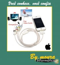 Cabo USB Cable Composite AV Video TV RCA Apple iPhone /iPod