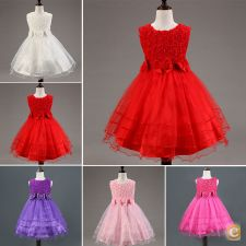 33A0366 - Princess Party Flower Girl Kid vestido casamento P