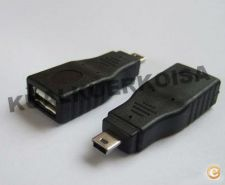 USB 2.0 A Female to Mini B Male OTG adapter converter