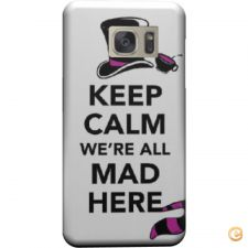 Capa mate Keep calm we are all mad here para Galaxy S6