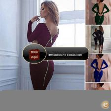 IC4902 - Mulheres Bandage Bodycon Long Sleeve Evening Sexy C
