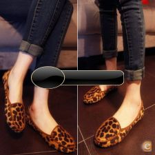 33A6696 - 2015 Moda Loafers Suede Leopard Flats Mocassins Bo