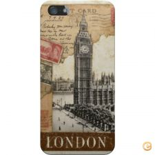 Capa mate London old postcard stamps para iPhone 5S/SE