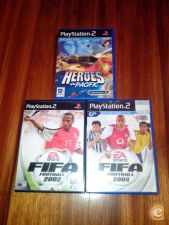3 jogos Playstation 2 PS2 Fifa 2002 e 2004 Heroes of Pacific