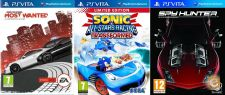 PS Vita NFS Most Wanted, Sonic All Stars Racing, Spy Hunter