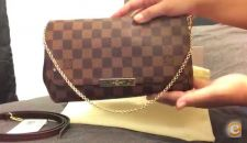 Louis Vuitton Favourite Clutch Damier Bolsa Estrear Pele
