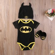 Newborn Baby Batman Body Botinha e Gorro
