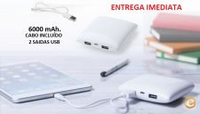 Bateria Auxiliar, Power Bank 6000mAh - ENTREGA IMEDIATA
