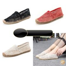 33A6707 - Hot Mulheres respirável Lace Moda Loafers Plano Es