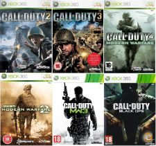XBOX360 Call of Duty 2, 3, 4, Modern Warfare 2, 3 Black Ops