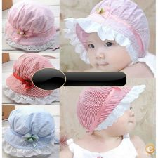 33A0225 -  Summer Fashion bebê Lace stropped Hat Cap encanta