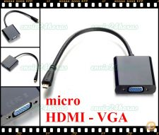 Cabo adaptador Box conversor micro HDMI p/ VGA HD DVD LCD PC