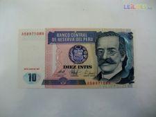 Nota não circulada de 10 intis do Peru