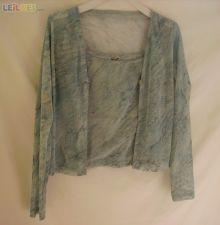 Conjunto casaco e top azul acizentado - Cláudia Bastos - T38