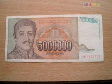 JUGOSLÁVIA - 5.000.000 DINARA    1993 CIRCULADA