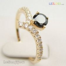 anel com ouro e pedras zirconia tam14 gold filled saldos 394