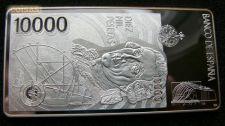 Espanha 10000 pesetas Barra de Prata 999 Peso 70 g