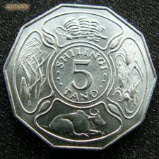 Tanzânia 5 shilingi 1972 KM# 6 FAO