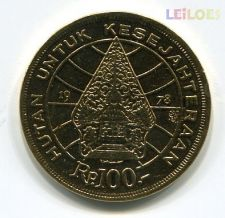 Indonesia - 100 Rupiah 1978 banhada em ouro