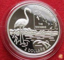 Bahamas 2 dollars 1996 Protect Our World flamingo