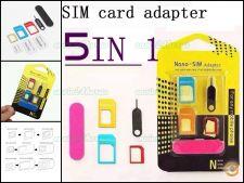 Cartão Sim 5 em 1 adaptador nano micro Sim Iphone android