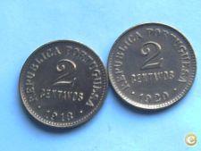 347- 2 MOEDAS CENTAVOS  1918 + 1920  lindas   2,99