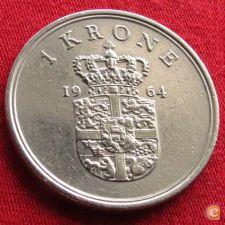 Dinamarca 1 krone 1964 KM# 851.1
