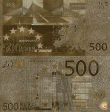NOTA de 500 EUROS EM OURO - RARA  Criado com puro ouro 999.9