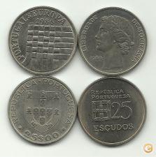 25 ESCUDOS EUROPA 1986 + 25 ESCUDOS 1980 -CIRCULADA -FOTOS