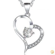 Fio colar Coração Ouro Branco te amo presente namorados