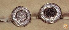 Anel em prata pedras swarovski -1 ou 2 cores COM CONTRASTE