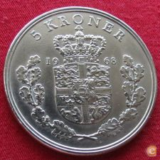 Dinamarca 5 kroner 1968 KM# 853.1   *V