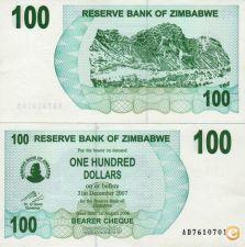 ZIMBABWE 100 dollar 2006 b.ch. UNC nova p-42