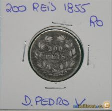 B-621 D. PEDRO V 200 REIS 1855 PRATA