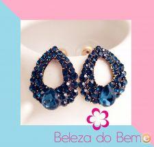 Par de brincos de Perlas Nova feminina Bijoux Azul