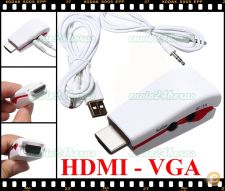Pen adaptador conversor HDMI p/ VGA e Audio HD DVD LCD PC TV