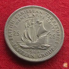 Caraibas British Caribbean Territories 25 cents 1964 KM#6 *V