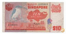 SINGAPORE 10 DOLLARS 1976 - 1984 PICK 11 A VER SCANS
