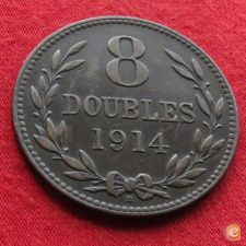 Guernsey 8 doubles 1914 KM# 14