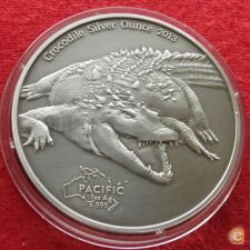 Tokelau 5 dollars 2013 crocodilo   Prata   999 1 oz