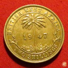 British West África Ocidental Oeste 2 shilling 1947 KN KM#24