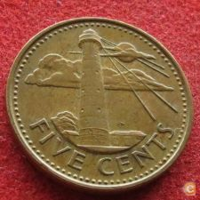 Barbados 5 cents 1986 KM# 11   *V