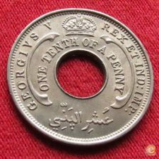 British West África Ocidental Oeste 1/10 penny 1936 KM# 7