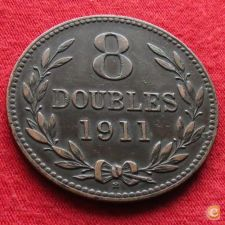 Guernsey 8 doubles 1911 KM# 7 w