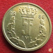 Luxemburgo 5 francs 1986 KM# 60.1 Luxembourg