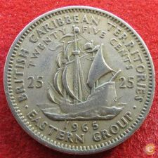 Caraibas British Caribbean Territories 25 cents 1965 KM#6 V1
