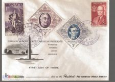 FDC MONACO HONORS GREAT AMERICAN PRESIDENTS - 3-4-1956
