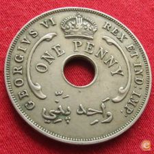 British West África Ocidental Oeste 1 penny 1937 KM# 19 H