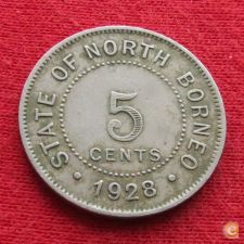 British Borneo Borneu do Norte 5 cent 1928
